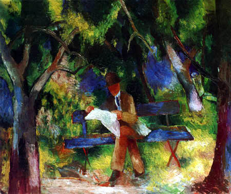 August Macke - A reading Man