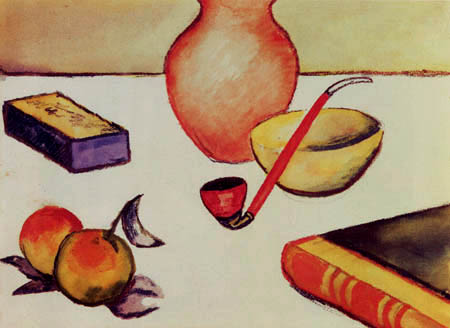 August Macke - Stillleben mit Pfeife und Äpfeln