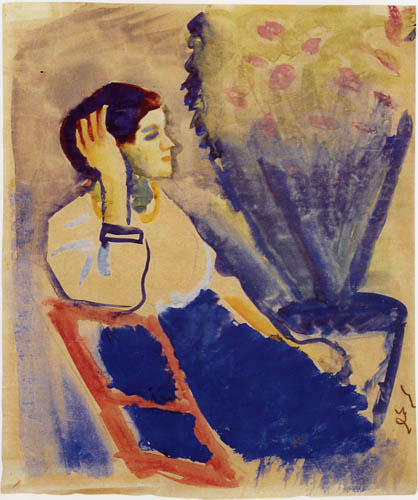 August Macke - Woman on a red chair