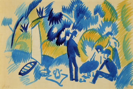 August Macke - Thuner See, picnic after sailing