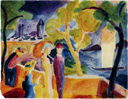 August Macke - Walkers on the lake