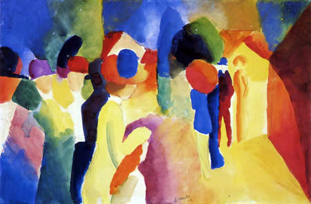 August Macke - With a yellow jacket
