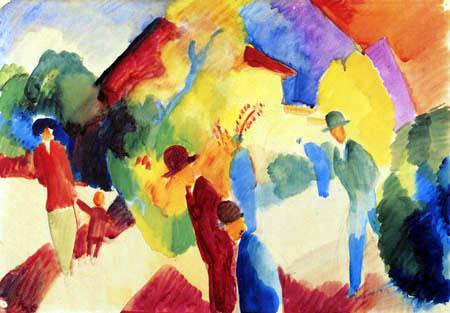 August Macke - Walkers in the park