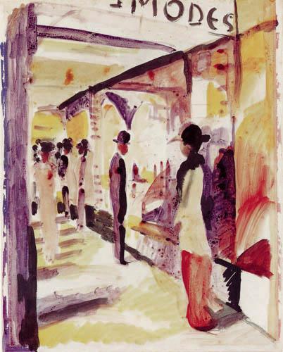 August Macke - A shopping street under summerhouses