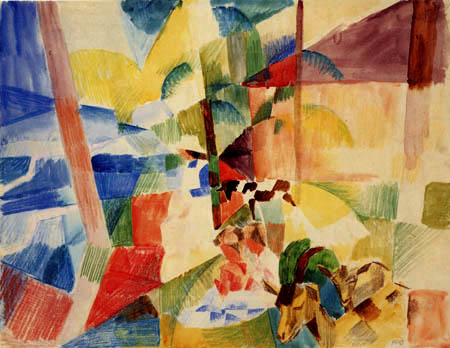August Macke - Kinder mit Ziegen in Berglandschaft