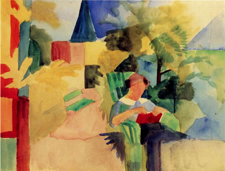 August Macke - Garden with Reading woman