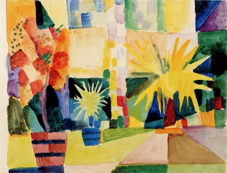 August Macke - Granatapfelbaum und Palme im Garten