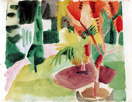 August Macke - Our garden at the lake