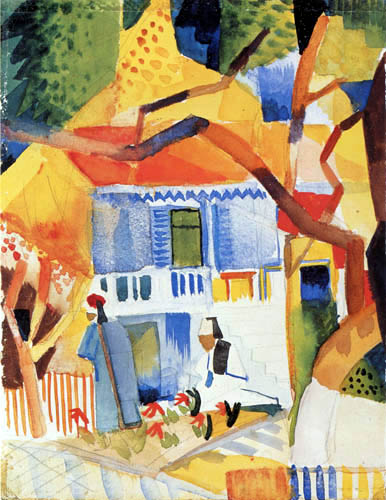 August Macke - Courtyard of the country house in St. Germain