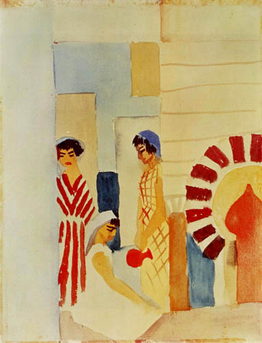 August Macke - Three girls before the house