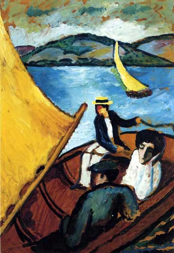 August Macke - A sailboat on the Tegernsee