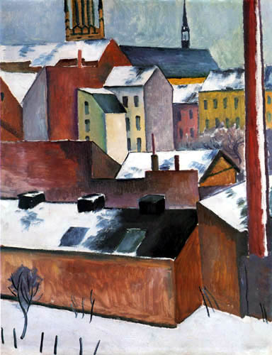 August Macke - St. Mary's Church in the snow