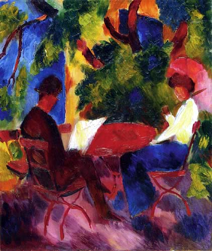 August Macke - A Couple at the garden table