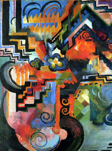 August Macke -  Colored Composition, Homage to Johann Sebastian Bach