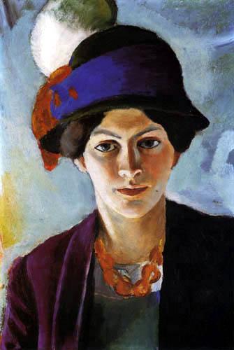 August Macke - Die Frau des Künstlers mit Hut