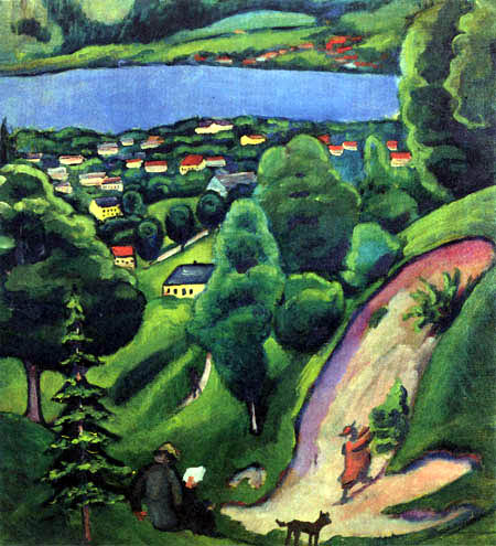 August Macke - Landscape at the Tegernsee