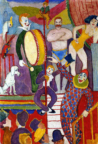 August Macke - Circus World I, Clown and Monkey