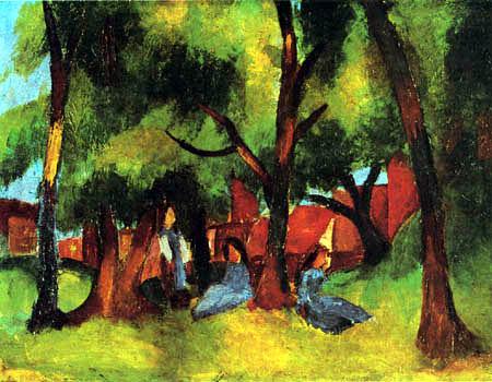 August Macke - Children under sunny trees