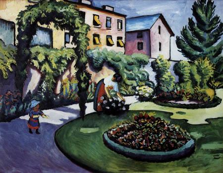 August Macke - Gartenbild mit Frau und Sohn
