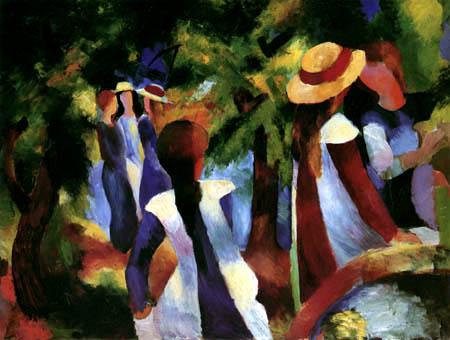 August Macke - Mädchen unter Bäumen