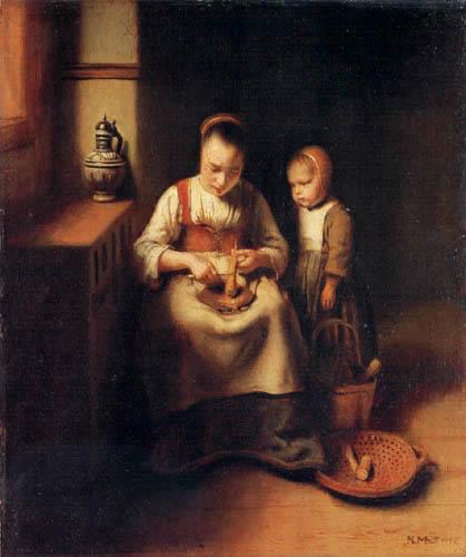 Nicolaes Maes - Pastinaken putzende Frau mit Kind