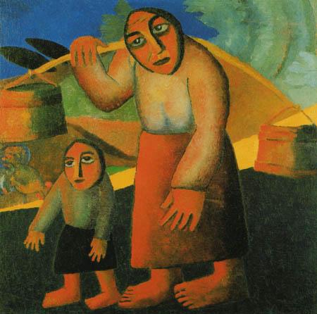 Kasimir Severínovich Malévich - Campesina con cubos y niño