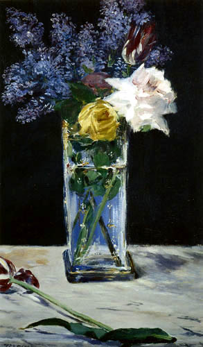 Edouard Manet - Crystal vase with roses, tulips and lilacs