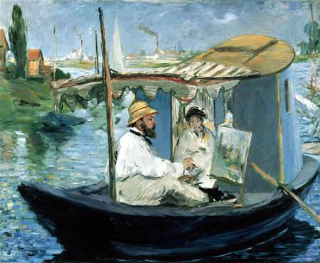Edouard Manet - Monet dans son bateau de studio