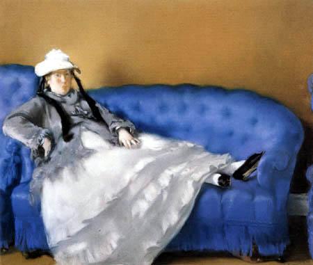 Edouard Manet - Madame Manet on a blue sofa