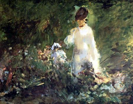 Edouard Manet - Junge Frau zwischen Blumen