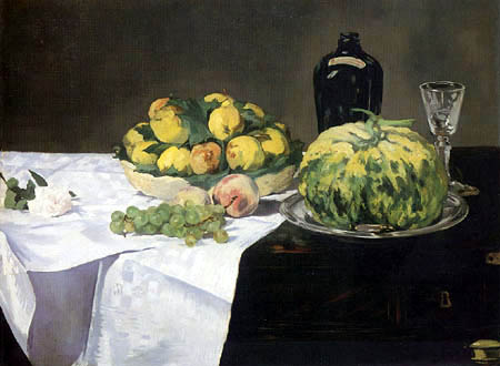 Edouard Manet - Stilleben mit Melone und Pfirsichen
