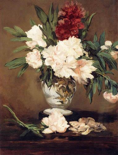 Edouard Manet - Vase mit Pfingstrosen auf kleinem Rundsockel