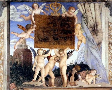 Andrea Mantegna - Inschrift mit Putten