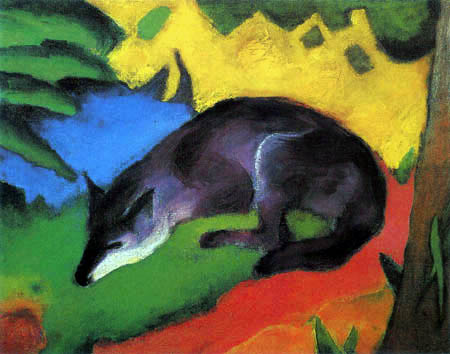 Franz Marc - Fox in black and blue