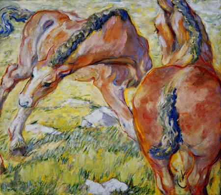Franz Marc - Mutterpferd und Fohlen