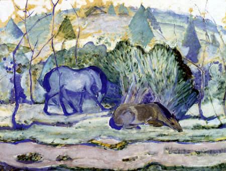 Franz Marc - Pferde auf der Weide