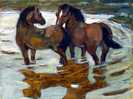 Franz Marc - Zwei Pferde in der Schwemme