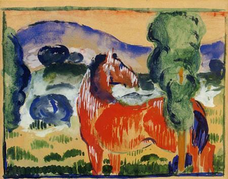 Franz Marc - Rotes Pferd in farbiger Landschaft
