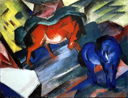 Franz Marc - Rotes und blaues Pferd