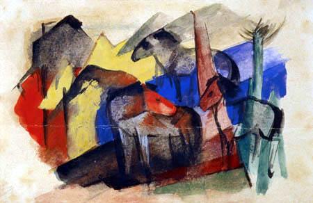 Franz Marc - Three horses in a landscape with houses