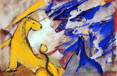 Franz Marc - Gelber Löwe, blaue Füchse, blaues Pferd