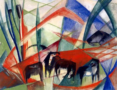 Franz Marc - Landschaft mit schwarzen Pferden