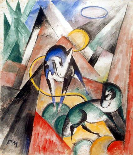 Franz Marc - Landschaft mit zwei Pferden