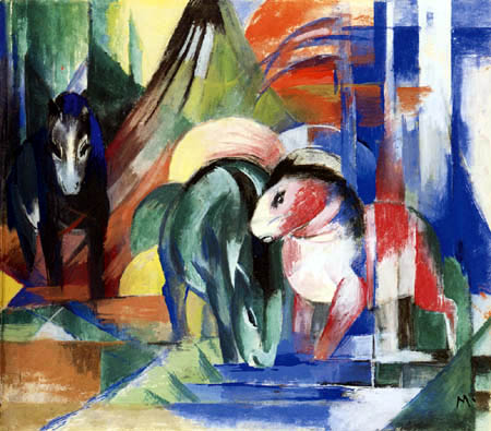 Franz Marc - Three horses at the watering place