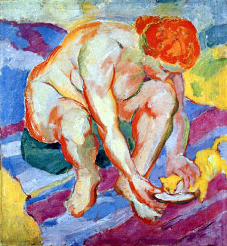 Franz Marc - Nude with cat