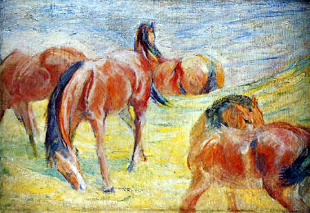 Franz Marc - Horses on the pasture I