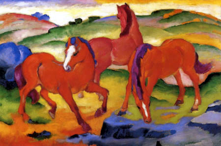 Franz Marc - The red horses