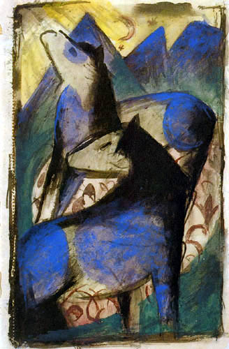 Franz Marc - Two blue horses