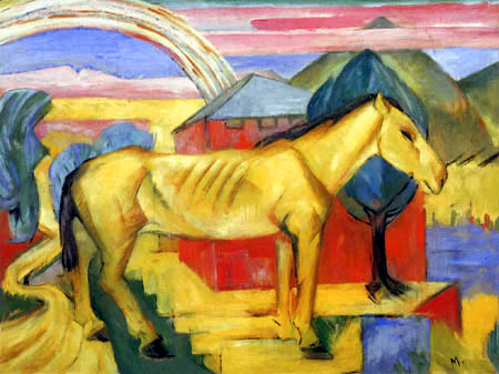 Franz Marc - The long yellow Horse