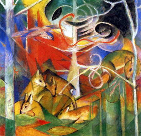 Franz Marc - Deers in the forest I